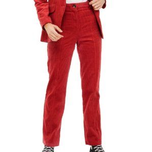TOPSHOP Red Wide Leg Corduroy Trousers